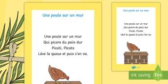Comptine : Une poule sur un mur Poster format A4 - comptine, poule, chicken, nursery-rhyme, cycle 1, chanson, ferme, easter, pâques, oeufs, prairie, c