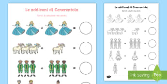 Le addizioni di Cenerentola Attività - fiaba, matematica, numeri, somma, italiano, italian, materiale, scolastico