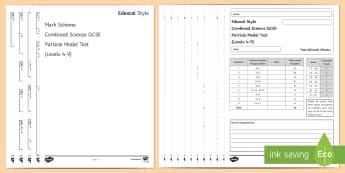 Edexcel Style Combined Science Particle Model Test - density, evaporation, irregular shapes, test, boiling point