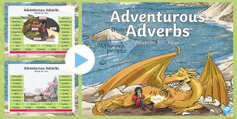 The Wyrmstooth Crown Adventurous Adverbs PowerPoint - ly, suffix, descriptive, how, manner, verbs, writing, grammar