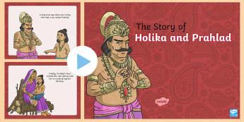 Hinduism Story of Holika and Prahlad PowerPoint - Hinduism Story of Holika and Prahlad Cards - holi, Holika, Prahlad, fire, Vishnu, Hindu, Hinduism, k