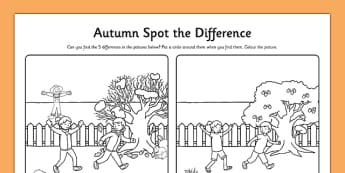Spot the Difference Autumn Colouring Worksheet - roi, irish, republic of ireland, autumn, difference, colouring