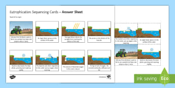 Eutrophication Sequencing Cards - Sequencing Cards, gcse, biology, pollution, environment, farming, agriculture, water, water pollutio