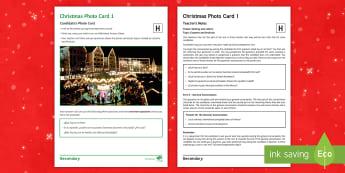 Christmas 1 Higher Tier Photo Card Activity Spanish - speaking, describing, customs, festivals, celebrations, GCSE