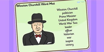 Winston Churchill Word Mat - winston churchill, word mat, topic words, topic mat, themed word mat, writing aid, mat of words, key words, keywords, mats