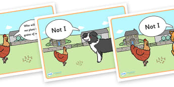 Little Red Hen Story Sequencing (Speech Bubbles) -  Little Red Hen, sequencing, Traditional tales, tale, fairy tale, little red hen, cat, dog, horse, grain, wheat, flour, bread, no I, I will