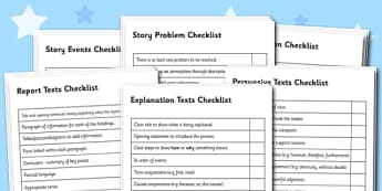 Genre Writing Checklist Pack - text types, text type checklist, writing checklists, different text types, checklist pack, writing checklist pack, writing