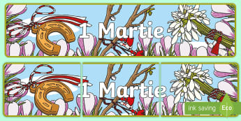 1 Martie Banner - 1 martie, mărțișor, martisor, potcoavă, șnur, alb roșu, Martie, primăvară, Romanian