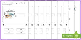 Workstation Pack: Counting Money (Notes) Activity Pack - Workstation Packs, TEACCH, money skills, functional skills, notes, p scales maths