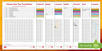 LKS2 Chinese New Year Coordinates Activity Pack - Grid, One Quadrant, Year 3, Year 4, apply, position, shape, picture