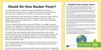 Should We Have Nuclear Power? Discussion Writing Sample - Literacy, Should We Have Nuclear Power? Discussion  Writing Sample  , discussion, year 5, year 6, en
