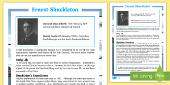 Ernest Shackleton: Significant Individuals Fact File - KS2, significant individuals, history, Ernest Shackleton, explorers, South Pole, Antarctica