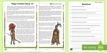 Maya Civilization Creation Story Comprehension - ancient maya, mayan