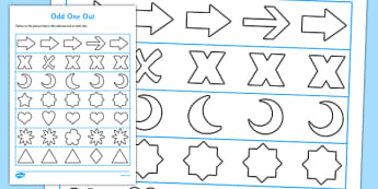 Visual Perception Odd One Out Shape Worksheet / Activity Sheet - visual perception, odd one out, shape, activity, worksheet