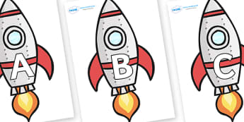 A-Z Alphabet on Rockets (Plain) - A-Z, A4, display, Alphabet frieze, Display letters, Letter posters, A-Z letters, Alphabet flashcards