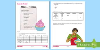 Cupcake Recipe Activity Sheet - Christmas, Jumper, Maths, Recipe, ratios, proportion