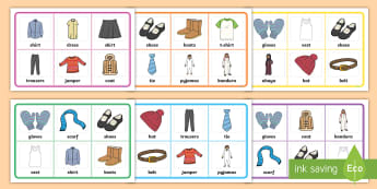 Clothes Bingo - shopping, hobbies, past times, bingo, lotto, games