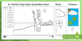 KS1 St. Patrick's Day Colour by Number - number recognition, numbers, colours