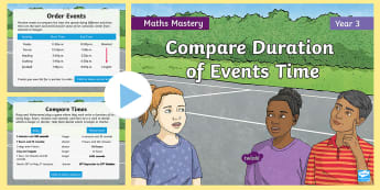 Year 3 Compare Duration of Events Time Maths Mastery PowerPoint - Reasoning, Greater Depth, Abstract, Problem Solving, Explanation