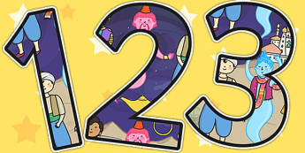 Aladdin Themed Display Numbers - aladdin, numbers, stories, story