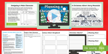 KS1 Planning a Christmas Advert Lesson Pack - creative writing, advertisement, john lewis, moz the monster, buster the boxer, m&s, marks and spenc