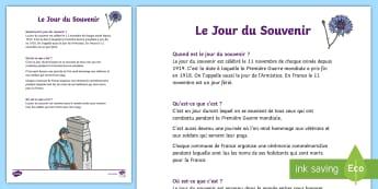 Fiche d'information : Le 11 novembre - Armistice, 14-18, Première, Guerre, Histoire, Souvenir, Cycle 2, Cycle 3,French
