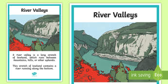 River Valleys A4 Display Poster - ACHASSK113, land forms, geography, environment, rivers,Australia