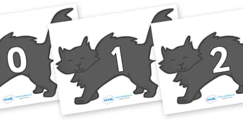 Numbers 0-31 on Black Cats - 0-31, foundation stage numeracy, Number recognition, Number flashcards, counting, number frieze, Display numbers, number posters