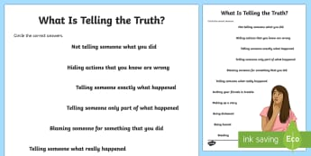 What Is Telling the Truth? Activity Sheet - telling the truth, lying, telling lies, friendship, social skills, autism, worksheet, sen