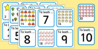Halving Matching Jigsaw Cards Gaeilge - halving, maths, cards, flashcards, card, matching, activity, halves, numeracy, adding, multiplication, calculation, foundation numeracy