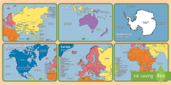 Geography Continents of the World Poster Display Pack English/Italian - KS1 Geography Continents of the World Poster Pack - ks1, geography, continents of the world, poster