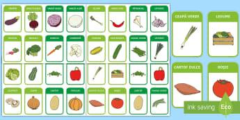 Legume Jetoane cu imagini - vocabular ilustrat, jocuri de memorie, activități, recolta, alimentație sănătoasă, toamna, Rom