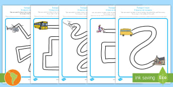 Transport Pencil Control Path Activity Sheets US English/Spanish (Latin) -  transport, pencil control, pencil control worksheets, fine motor skills, fine motor worksheets, wor