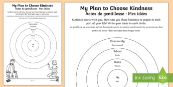 My Plan to Choose Kindness Activity Sheet English/French - Choose kindness, kindness, friendship, relationships, pledge, worksheet, activity sheet, EAL French,