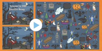 Halloween I Spy Activity PowerPoint - oíche Shamhna, infants, feicim le mo shúilín, vocabulary, oral language special occasions, ,Irish