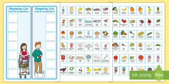 Shopping Lists and Food Cards English/Romanian - Shopping Lists and Food Cards - shopping list, shopping, shop, list, food, cards,shoppinglist,grocer