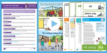 In and Out Early Concept Teaching and Learning Ideas Resource Pack - baby room, birth to two, birth to 2, prepositions, prepositional, positional, language, maths, ssm