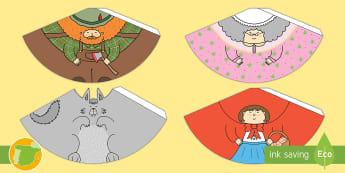 Modelo de papel: Conos con personajes - Caperucita Roja - Cuentos, tradicionales, roja, caperucita, niña, lobo