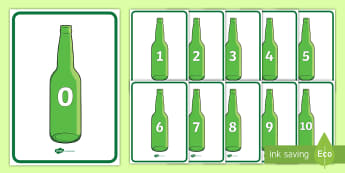 Ten Green Bottles Display Posters - Number rhyme, green bottles, nursery rhyme, numeracy, numbers, counting, foundation stage numeracy