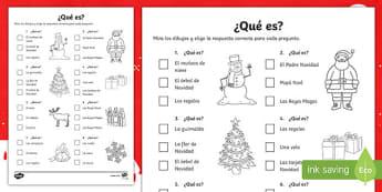 Christmas Quiz Activity Sheet Spanish