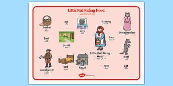 Little Red Riding Hood Word Mat Arabic Translation - arabic, Little Red Riding Hood, word mat, writing aid, traditional tales, tale, fairy tale, Wolf, Grandma, woodcutter, bed, cottage, forest, what big teeth you have