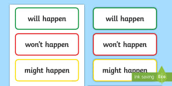 Chance Word Cards - chance, probability, will happen, won't happen, might happen, Australia