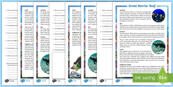 Great Barrier Reef Upper Primary Differentiated Reading Comprehension Activity - Guided Reading, reading strategies, australian landmark, australian geography, coral reef,Australia