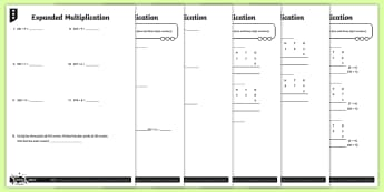 Expanded Multiplication Activity Sheets
