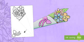 Mother's Day Paper Flower Bouquet English/Italian - Mother's Day Paper Flower Bouquet Coloring Activity - bouquet, mothers day, paper, colering, colour