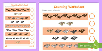 The Bats Counting Activity Sheet - counting worksheets, counting, number, numeracy, adding, addition, maths, minus, themed worksheets,