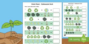Karta Dodawanie liczb Dzień Ziemi - dzień, ziemi, ziemia, planeta, ekologia, ekologiczne, ekologiczny, przyroda, dodawanie, matematyka,