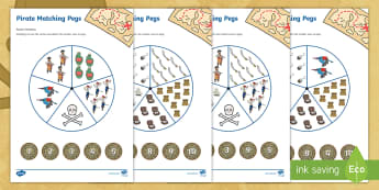 Pirate themed 1 5 Matching pegs Activity  - EYFS, pirates, number, maths, one to five, 1-5, counting, matching,