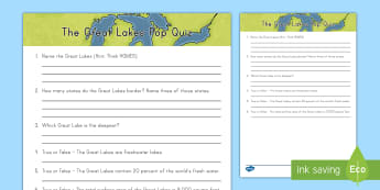 The Great Lakes Facts Pop Quiz - Great Lakes, regions, geography, lakes, bodies of water, lake erie, lake superior, lake michigan, la