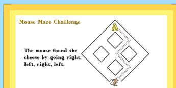 A4 KS1 Mouse Maze Maths Challenge Poster - Mouse, Maze, Challenge